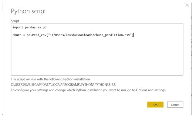 Integrating Python in Power BI